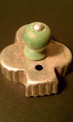 Club Cookie Cutter Green Wood Handle Vintage