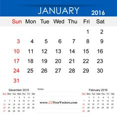 Free Download January 2016 Calendar Printable Template Vector Illustration. Can be used for business, corporate office, education, home etc.Free Editable Monthly Calendar January 2016 available in Adobe Illustrator Ai