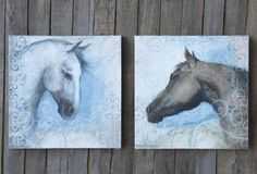 Horse Lacquered Canvases, Set of 2 - From Antiquefarmhouse.com - http://www.antiquefarmhouse.com/current-sale-events/accent38/horse-wall-decor-set-of-2-lacquered-canvases.html
