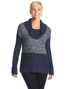 Chico's Maddie Space-Dyed Cowl Neck Sweater #chicos