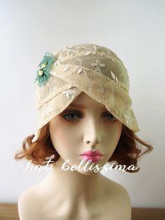 khaki 1920s Cloche Hat flowers cotton Lace fabric Vintage