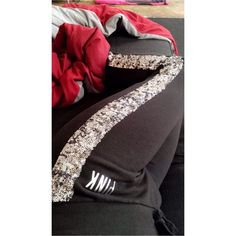 Victoria's Secret pink bling sweatpants Silver bling , all intact ; no fading only wore once ! Tight at the ankle , draw string PINK Victoria's Secret Pants