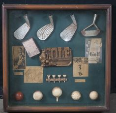 SHADOWBOX OF GOLF-RELATED ITEMS. MEASURES 15 IN. X 15 IN.