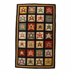 Penny Rug w/ Stitched Star Patch Design