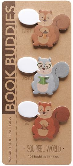 Squirrel Book Buddies Page Flags from Girl of All Work