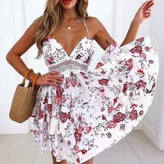 Style:Fashion Pattern Type:Floral,Patchwork Material:Polyester Neckline:V-Neck Sleeve Style:Spaghetti Strap Length:Mini Occasion:Casual Package Dress Note: There might be difference according to manual measurement.Please check the measurement. Dresses For Teens, Sexy Dresses, Casual Dresses, Summer Dresses, Mini Dresses, Party Dresses, Ladies Dresses, Dresses 2016, Prom Gowns