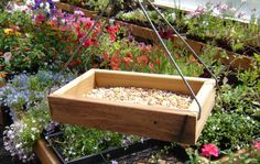 Wood tray platform style bird feeder from by andrewsreclaimed