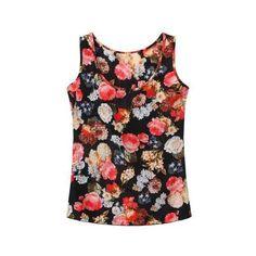 Yoins Yoins Black Floral Print Chiffon Vest ($9.07) ❤ liked on Polyvore featuring tops, yoins, black, black tank top, vest top, black chiffon tank, black chiffon tank top and black chiffon top