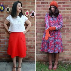 #bpsewvember Also these two are worth a mention in my me made collection, but couldn't squeeze into the last pic! Orange Scottish wool skirt from a vintage pattern and @sewoveritlondon vintage shirt dress made from Liberty brushed cotton twill which I was wearing earlier today. Seriously, brushed cotton dresses and thick tights for this cold weather 👍👍👍 (knitted things were another make it up as you knit)
