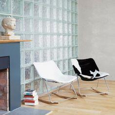 pierre guariche fauteuil bascule vintage cuir blanc - Chaise Eleven Patchwork Colors