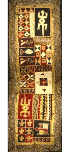 Hand painted African Textiles.African sadza Batik.Dundazi Range. Design Africa. Size 50x150mm. Colours Mud. From the studio of thetradingcompanyzimbabwe.wordpress.com