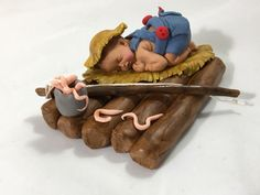 Excited to share this item from my shop: Fondant River Raft Baby with Fishing Pole Fondant Baby, Fondant Cupcakes, Penn Fishing Reels, Fishing Bait, Ice Fishing Equipment, Fishing Backpack, Petal Dust, Toxic Foods, Baby Fish
