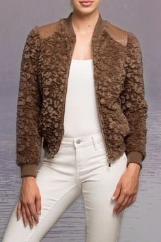 Classy looking faux fur  bomber jacket  Faux Fur Bomber   by Coalition. Clothing - Jackets Coats & Blazers Chicago Illinois