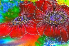 BRUSHO EXPERIMENTAL FLORAL This is a new product to me, that I am experimenting with...BRUSHO...which is powdered crystals of watercolor and very intense. Lots for me to learn about this....and on this one I combined the Brusho with Inks on WC paper.