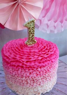 Gold one and pink ombre smash cake