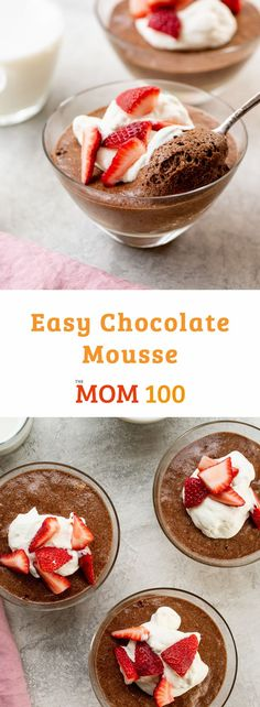 Easy Chocolate Mousse / Lighter than other chocolatey desserts, but make no mistake: it's cool, creamy and seriously indulgent. Cheesecake Mousse Recipe, Cheesecake Recipes, Dessert Recipes, Top Recipes, Cream Recipes, Dinner Recipes, Whipped Cream Desserts, Sweetened Whipped Cream, Chocolate Pudding Recipes