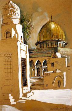 Arabian alley old arabic city illustration Terra Santa, Palestine Art, Middle Eastern Art, Islamic Art Pattern, Islamic Paintings, Islamic Art Calligraphy, Calligraphy Tools, Islamic Wallpaper, Arabic Art