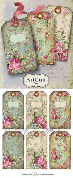 Tags bijoux titulaires No.10 Collage numérique feuille imprimable téléchargement roses victorien Vintage shabby roses scrapbooking papier Art culte de cadeau