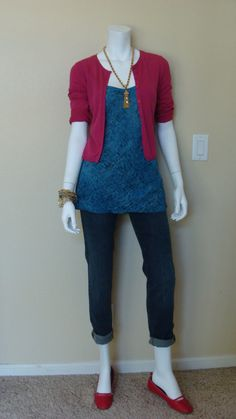Daily Look:  CAbi Fall '12 Bree Jean and Brilliant Cami with a vintage CAbi raspberry cardigan and red flats.  Bright gold jewelry makes the colors pop.  So pretty!