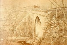 On its collision course for Johnstown, just beyond South Fork, the waters of Lake Conemaugh destroyed the Conemaugh Viaduct. The viaduct had originally been built for the Allegheny Portage Railroad, but in 1889 was being used by the Pennsylvania Railroad.