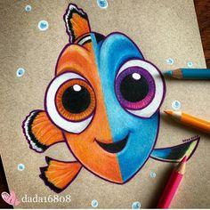 Easy Disney Drawings, Disney Character Drawings, Disney Drawings Sketches, Cute Cartoon Drawings, Cool Art Drawings, Colorful Drawings, Easy Drawings, Drawing Sketches, Disney Paintings