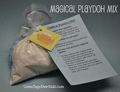 "use for water to wine!! Jesus did not have magic tricks but miracles...Magical Playdough- This isn't really a new idea for us, but rather a variation on our KoolAid Playdoh that I made up as party favors. The mix looks almost totally white in the bag, but add the wet ingredients and the color and scent ""magically"" appear!! No cooking...just add boiling water"