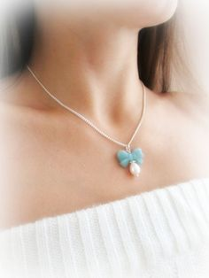 Amazonite stone bow necklace freshwater pearl by MalinaCapricciosa