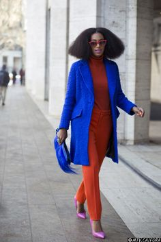 Solange / New York Fashion Week.  Milli coat, Carven top and pants
