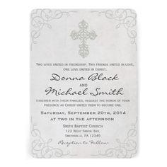 Delicate Cross - Religious Wedding Invitations