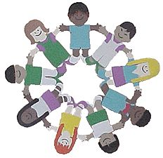 Earning your Violet Be a Sister Petal by making paper doll daisy into a circle of friends.