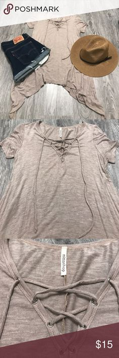 Mittoshop tie front long tee EUC! Longer on the sides. Super soft material. Great color! mittoshop Tops Tunics