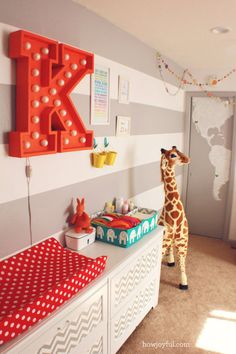 This circus-themed nursery from Joy at How Joyful proves that you can play with color and still decorate a gender neutral room for your little one.