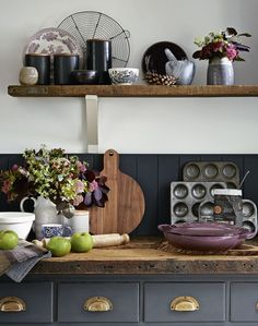 Country Kitchen with Wooden Worktop and Grey Cabintery
