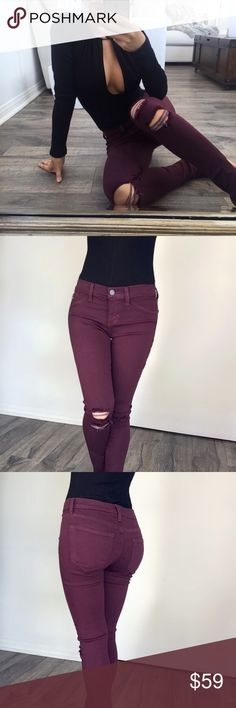 "☆ Distressed Knee Skinnies SOLD OUT from @itselaine ekAttire. Size 9 is equivalent to about a size 28. Perfect for this holiday season! This deep dark rich burgundy color with the perfect fit is rare & hard to find. Mid rise skinnies. Single button & zipper enclosure. Ultra stretchy & extremely comfortable! Material: Rayon Cotton Polyester & Spandex Measurements: 8"" Rise & 30""Inseam. Made in the USA. Model and pants from @itselaine wearing Size 1.   No trades. Ship Mon - Fri. Add to Bundle…"