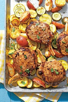 Greek Pork Chops with Squash and Potatoes - Simple Sheet Pan Suppers - Southernliving. Recipe: Greek Pork Chops with Squash and Potatoes Pan Pork Chops, Grilled Pork Chops, Red Potato Recipes, Pork Chop Recipes, Salmon Recipes, One Dish Dinners, Cheap Dinners, Inexpensive Meals, Weeknight Dinners