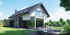 homify is an online platform for architecture, interior design, building and decoration. homify offers everything the end user requires, from the planning stage, up to the delivery of the keys to your dream home. Modern Bungalow Exterior, Modern Farmhouse Exterior, Modern Family House, Modern House Plans, Concept Home, Home Fashion, Traditional House, Ideal Home, Exterior Design