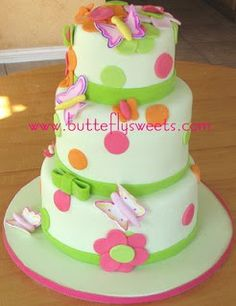 Butterfly Cake...A fairly simple one and cute! Possible baby shower cake?