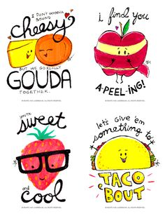 These would be cute for lunches! Free Printables - Funny Valentines with Food Puns by Hearts and Laserbeams