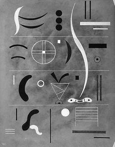 Four Parts. Vasily Kandinsky (French/born Russia, Moscow 1866-1944 Neuilly-sur-Seine). 1932. Gouache on paper, mounted on Masonite.