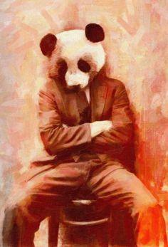 Sad Panda as Acrylic Glass Print by John Keddie | JUNIQE