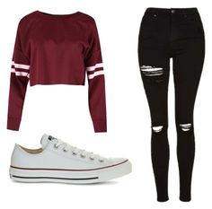 """Untitled #373"" by cuteskyiscute ❤ liked on Polyvore featuring Topshop and Converse"