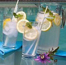 8 cups of water plus a little (2 Liters)  1 teaspoon grated ginger  1 cucumber, peeled and thinly sliced  1 lemon, very thinly sliced  A Dozen or So small spearmint leaves.
