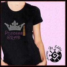 Rhinestone Transfer Princess Grad with Crown by AccentsByEddita, $12.50