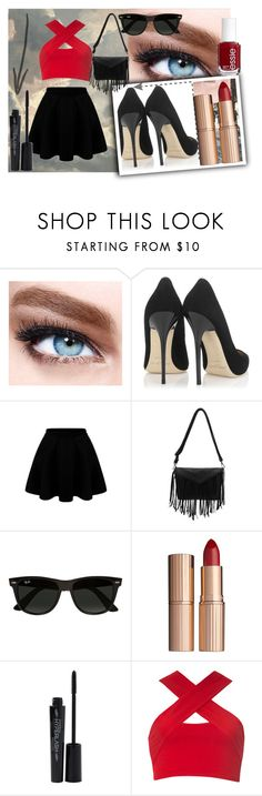 """Black & Red"" by geovanna-morgado on Polyvore featuring Maybelline, Jimmy Choo, Ray-Ban, Charlotte Tilbury, Essie, Smashbox and Motel"