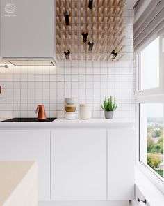 Wine rack / kitchen / storage units / Interior design of apartment in Minsk at the joint of Scandinavian style and restrained minimalism. Kitchen Inspirations, Interior Design Kitchen, House Interior, Scandinavian Kitchen, Kitchen Styling, Kitchen Interior, Interior, Kitchen Renovation, Home Decor