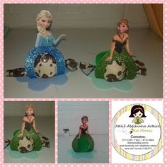 Porta bombom em eva dos personagens do filme Frozen: Elsa e Anna. Não acompanha bombom.