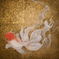 幻, eastern gouache , paper, goldfish by chih-yi chen Koi Fish Drawing, Fish Drawings, Koi Art, Fish Art, Poisson Combatant, Koi Painting, Mermaid Coloring, Beautiful Fish, Traditional Paintings