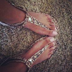 Studded leopard print sandals<3