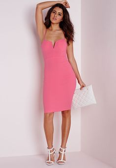 Missguided - Plunge Zip Back Midi Dress Pink