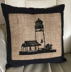 Nautical Pillow Lighthouse Pillow Hand Stitched by Floatinteriors